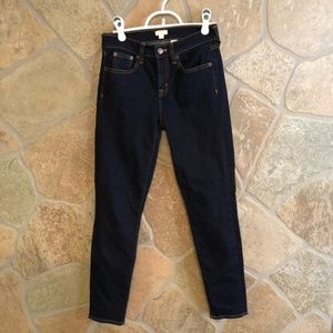 J. Crew mid rise dark wash skinny jeans. Size 25